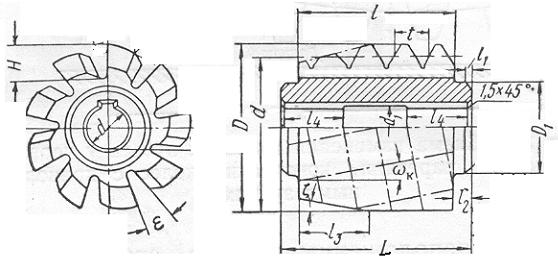 Червячная фреза с тангенциальной подачей